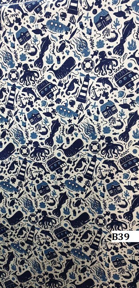 Japanese style printed cotton ผ้าฝ้ายลายญี่ปุ่น B39