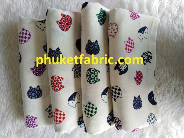 Soft printed cotton ผ้าฝ้ายฟอกนุ่มพิมพ์ลาย BB036